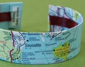 California Map Bracelet, Sausalito Area Cuff - Ready to Ship - Gift under 30