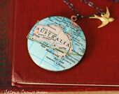 Australia Vintage Map Necklace on Large Vintage Locket - Sterling Silver Chain - Gold Bird - Ready to Ship