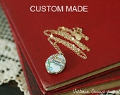 Custom Map Necklace on Small Gold Locket, Gold Chain, Personalized Map Jewelry, Choose Your City - Made to Order