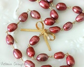 Gold Bow Necklace with Burgundy Freshwater Pearls - Ready to Ship, Small Bow, Pearl Necklace, Bridesmaid, Plum