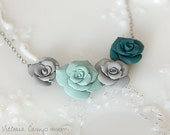 Handformed Clay Roses Necklace, Dark Teal, Sage Green, Gray, Oxidized Sterling Silver - Flower Floral - Ready to Ship