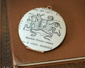 Octopus Vintage Locket Necklace, Nautical, Sea Creature, Dictionary Illustration - Ready to Ship