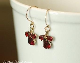 Vintage Red Rhinestone Earrings on Gold Hooks, Ruby Red, Art Nouveau Style - Ready to Ship