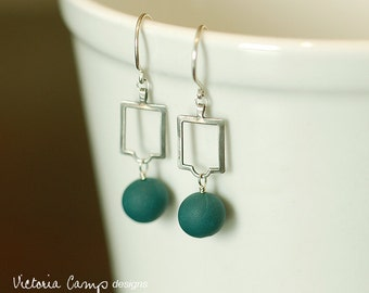 Art Deco Style Sterling Silver Drop Earrings, Teal Clay Beads, Geometric, Modern - Ready to Ship