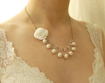 Crystal and Pearl Wedding Necklace, Handmade White Rose, Freshwater Pearls, Vintage Glass, Sterling Silver, Layered