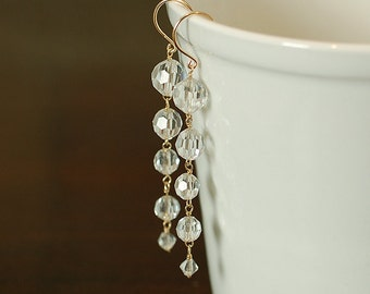 Long Vintage Glass Wedding Earrings, Gold, Dramatic, Glamourous, Tapered, Bridal Jewelry, Faceted, Clear - Ready to Ship