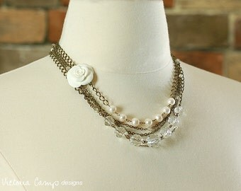 Layered Wedding Necklace, Multi Strand, White Rose, Flower, Freshwater Pearls, White, Vintage Glass Beads, Bridal Jewelry, Asymmetrical