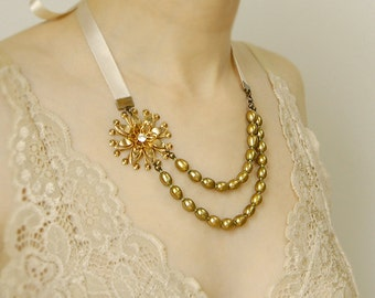Double Strand Bridal Necklace - Vintage Gold Flower, Green Freshwater Pearls, Cream Ribbon, Wedding Jewelry, Ready to Ship