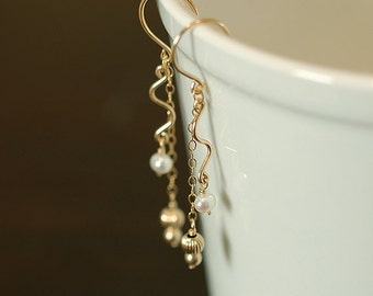 Gold and White Pearl Wedding Earrings, Gold Swirl, Gold Hooks, Long, Dangle, Drop, Delicate - Ready to Ship