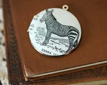 Zebra Locket Necklace, Dictionary Illustration, Vintage Locket - Ready to Ship
