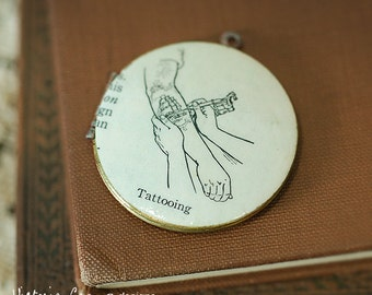 Tattooing Locket Necklace, Vintage Dictionary Illustration - Ready to Ship