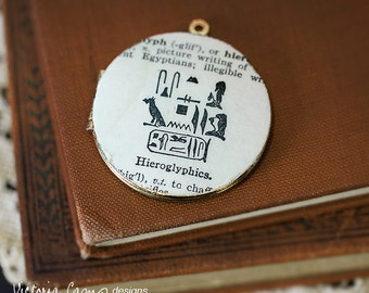 Hieroglyphics Locket Necklace, Vintage Dictionary Illustration, Egypt - Ready to Ship