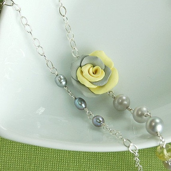 ON SALE - Double Strand Rose Necklace, Yellow Quartz, Gray Pearls, Clay Rose - Sterling Silver - Ready to Ship