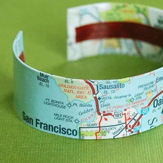 Map of San Francisco - East Bay CA Area Map Cuff Bracelet - style 2