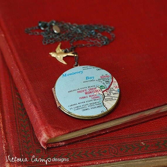 Map Necklace of Monterey Bay California on Vintage Locket, Sterling Silver - Ready to Ship