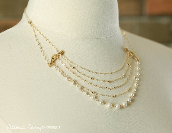 Pearl Wedding Necklace - Multi Strand Layered Bridal Necklace - White Freshwater Pearls, Gold Chain - Ready to Ship