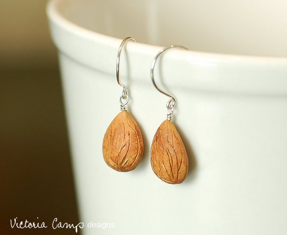 SALE - LAST PAIR Clay Almond Earrings on Sterling Silver Hooks, Miniature Food Jewlery - Ready to Ship