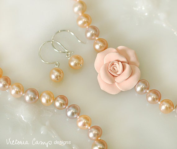 Pearl Wedding Bridal Jewelry Set, Hand Knotted Pearl Necklace, Pink Rose, Pink Pearl Earrings, Freshwater Pearl, Sterling Silver