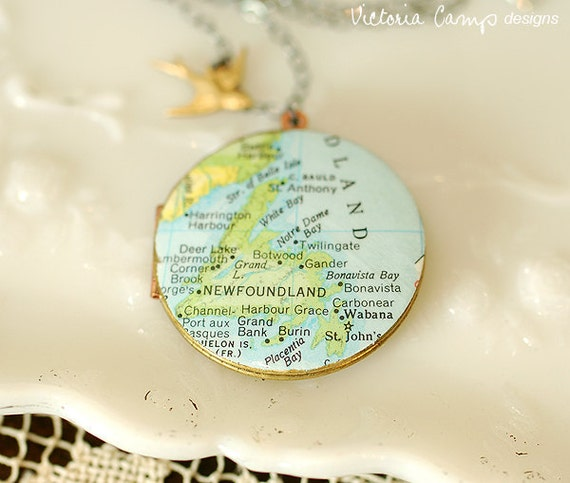 Newfoundland Map Locket Necklace on Large Vintage Locket - Vintage Map - Sterling Silver Chain - Ready to Ship