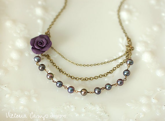 SALE Dark Purple Rose and Pearl Layered Necklace on Brass - Ready to Ship
