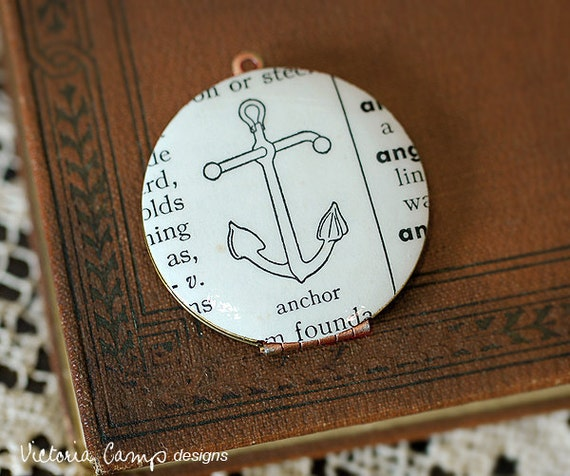 Anchor Locket Necklace, Vintage Dictionary Illustration - Vintage Locket - Brass Chain - Ready to Ship