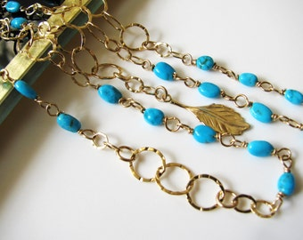Long Turquoise Wrap Necklace