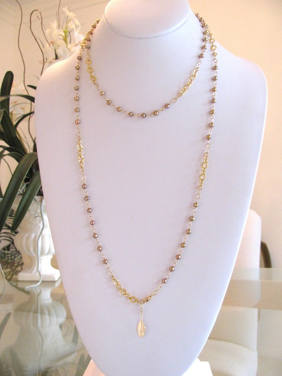 Tiny Bronze Pearl Long Wrap Necklace