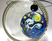 RESERVED - Starry night sky bottle cap pendant - Van Gogh inspired - ''Luminescence''