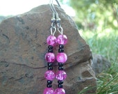 Pink and Black Casual\/Special Occasion Earrings ON SALE