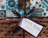 SALE - Large Patchwork Flannel and Minky Dot Baby Blanket - 34 X 40
