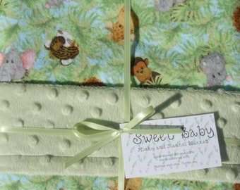 Large Jungle Babies Flannel and Minky Dot Baby Blanket - 34 X 40