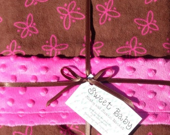 SALE - Large Pink Butterflies Flannel and Minky Dot Baby Blanket - 34 X 40