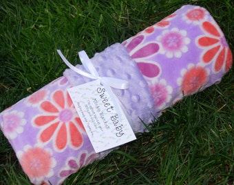 Large Floral Minky and Lavendar Minky Dot Baby Blanket - 34 X 40