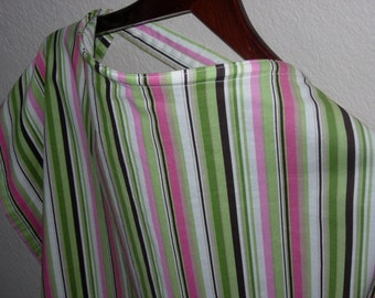 SALE - Pink, Green, and Brown Nursing Cover with Terrycloth Pocket