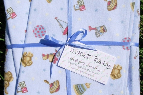 Extra Large Baby Toys Baby Blanket and 2 Burp Cloth Set - 38 X 38