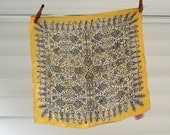 Silk scarf in gray and mustard yellow