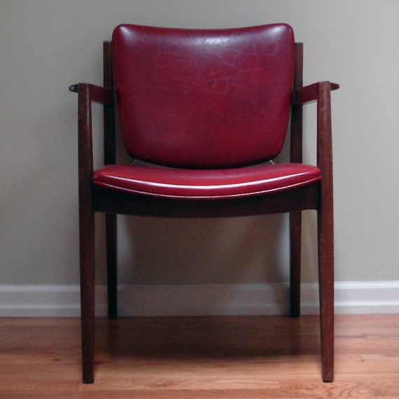 Classic wooden side chair with deep burgundy seat and back