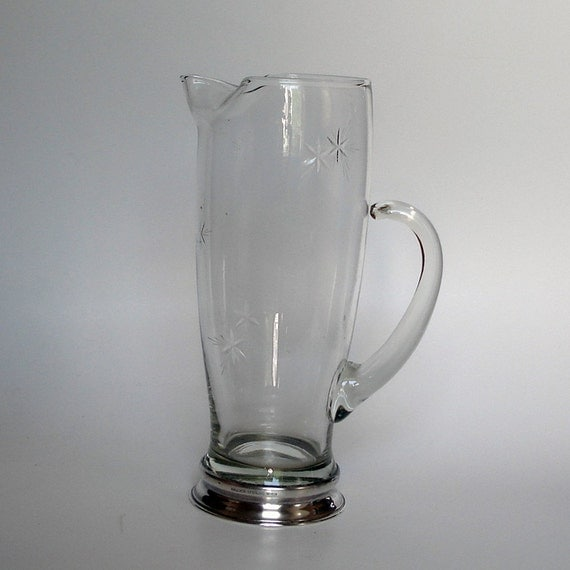 Wallace Glass Cocktail Pitcher With Silver Plate Base