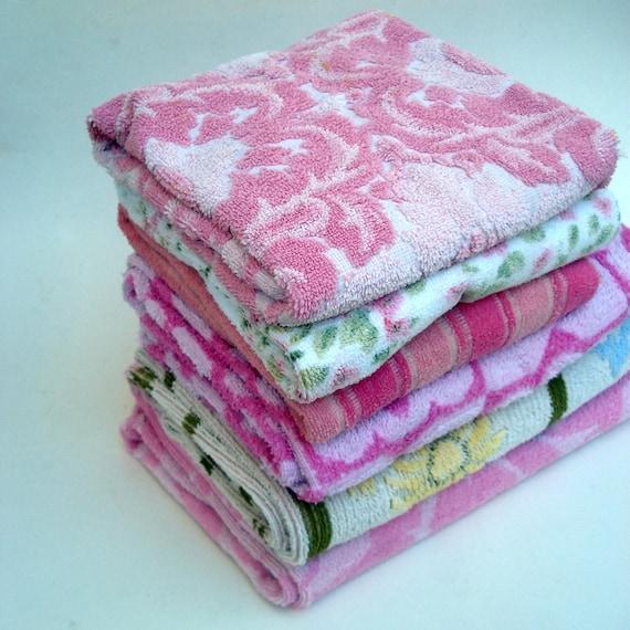 Vintage Towels: Set Of 6 Vintage Towels In Bright Pinks And Happy Greens