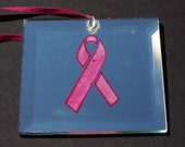 3 Inch Square Etched Mirror with Pink Breast Cancer Awareness Ribbon