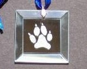 2 inch Square Beveled Etched Mirror with Dog Paw