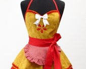 Pin Up Sexy CHERRY PIE Double Skirt Apron