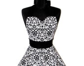"Womens Damask Sweetheart Neckline ""Chic Damask"" Apron - Sexy in Elegant Black and White JESSIE Double Skirt Full Apron"