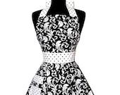 "Womens Damask Bib ""Parisian"" Apron - Elegant in Black and White ELOISE Full Apron"