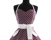 Pin Up Pretty Purple Polka Dots Double Skirt Apron