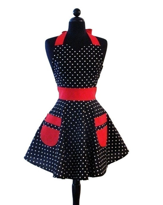 "Womens Sweetheart Neckline ""Dotty Girl"" Apron - Sexy in Black and White Polka Dots with Red JESSIE Full Apron"