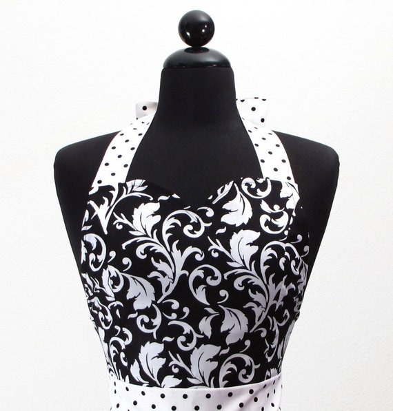 "Womens Damask Sweetheart Neckline ""Parisian"" Apron - Sexy in Elegant Black and White JESSIE Full Apron"