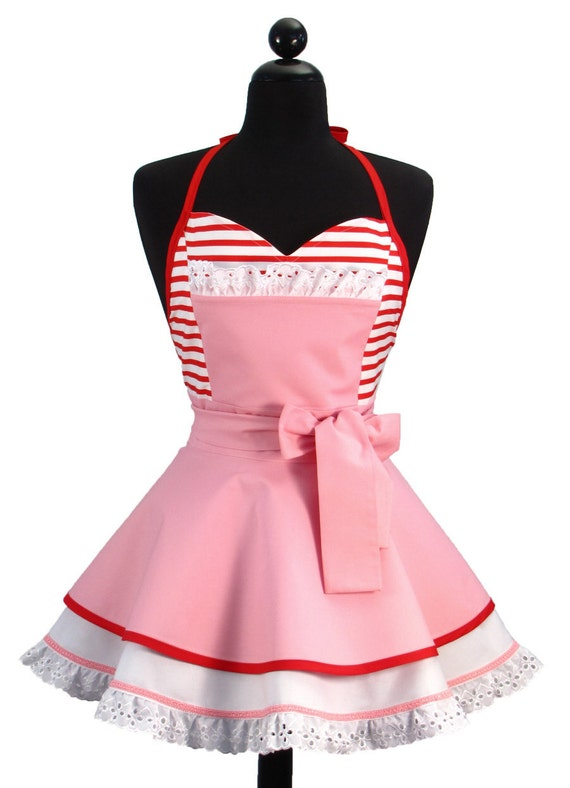 """Pin Up Sexy """"Hi Kitty"""" Double Skirt Sweetheart Neckline Full Apron LIMITED EDITION"""