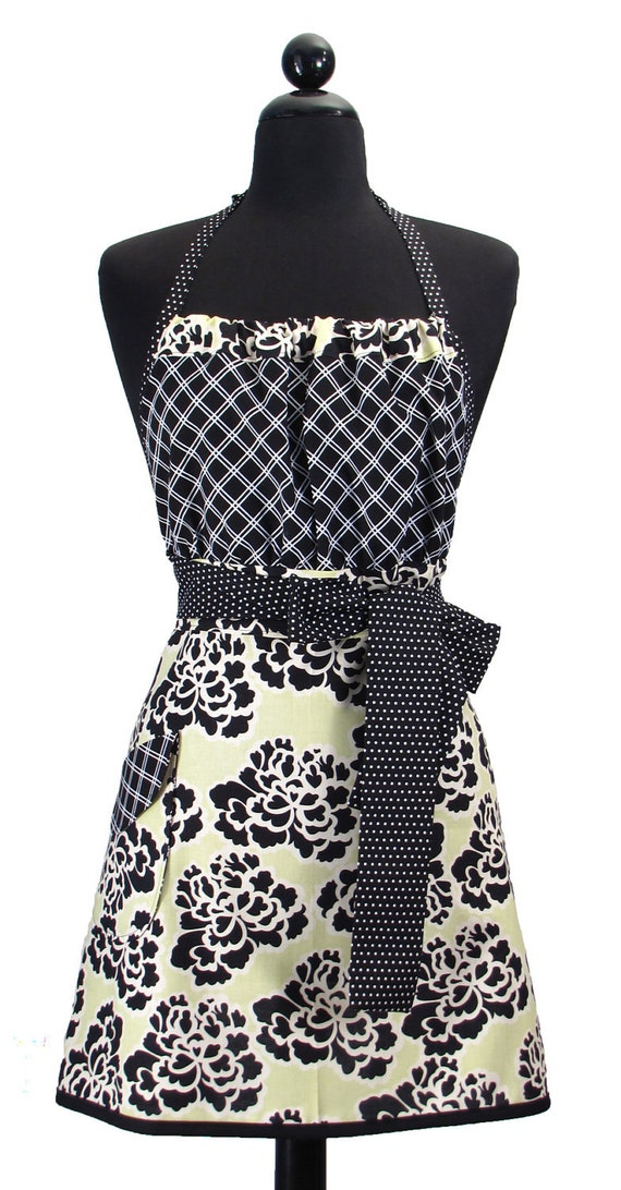 "Cute Trendy ""Key Lime"" Full Apron - Fabulous in Sophisticated Lime Floral"