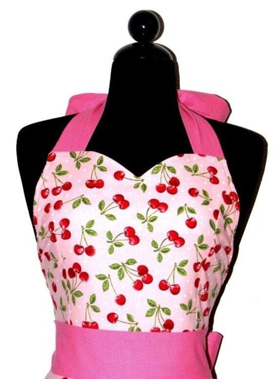 AUNT JESSIE'S Vintage Pink Cherries Fashionista Full Apron